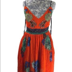 Anthropologie Maeve Orange Floral Maxi Dress